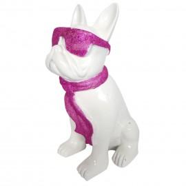 Statue chien bouledogue Français à lunette en résine blanc et fuchsia 37 cm