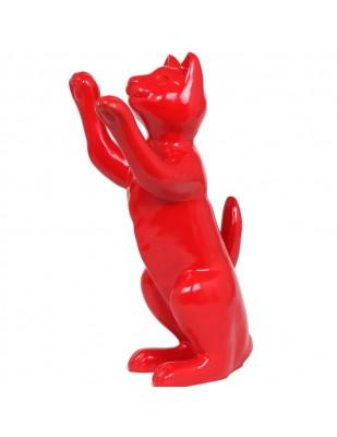 Statue en résine CHAT rouge - 55 cm