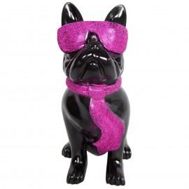 Statue chien bouledogue Français à lunette en résine noir et fuchsia 37 cm