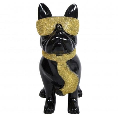 Statue chien bouledogue Français à lunette en résine noir et doré 37 cm