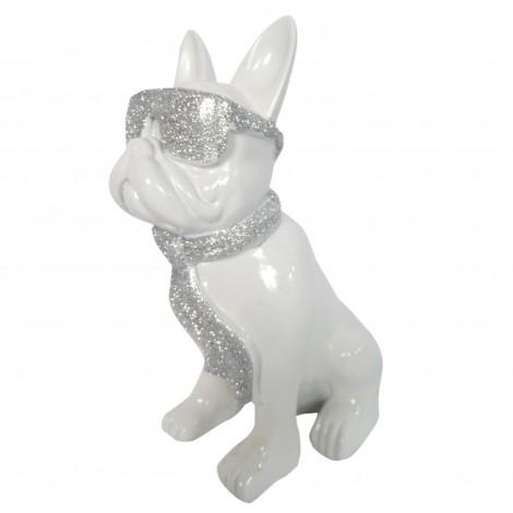Statue chien bouledogue Français à lunette en résine blanc et argent 37 cm