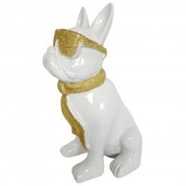 Statue chien bouledogue Français à lunette en résine blanc et doré 37 cm