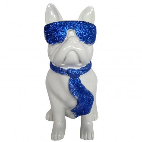 Statue chien bouledogue Français à lunette en résine blanc et bleu 37 cm