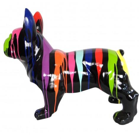 Statue chien bouledogue Français racé en résine multicolore fond noir 90 cm