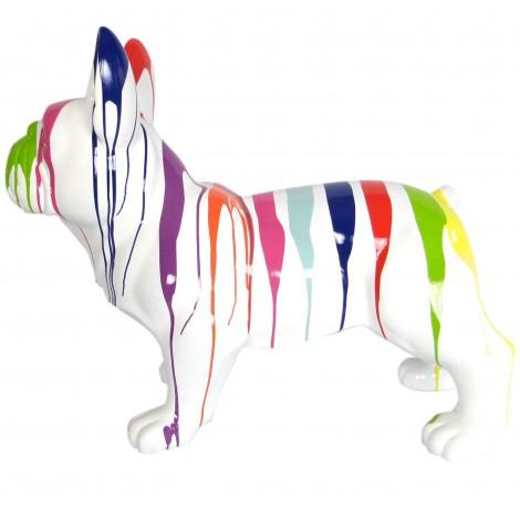 Statue chien bouledogue Français racé en résine multicolore fond blanc 90 cm