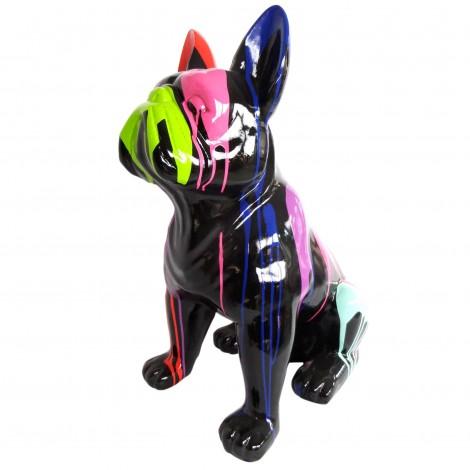 Statue chien bouledogue Français assis en résine multicolore fond noir 80 cm