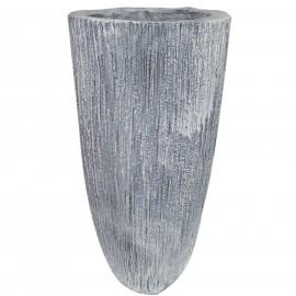 Cache pot jardinière design en résine striée de couleur béton 70 cm