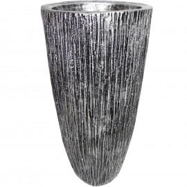 Cache pot jardinière design en résine striée de couleur acier 70 cm