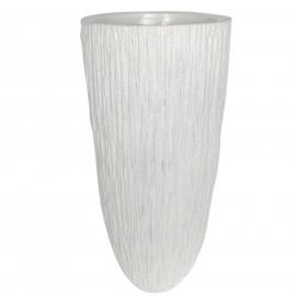 Cache pot jardinière design en résine striée de couleur blanc 70 cm
