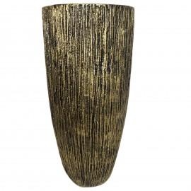 Cache pot jardinière design en résine striée de couleur doré antique 70 cm