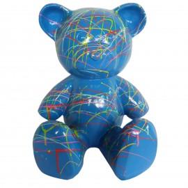 Statue Ours multicolore en résine fond bleu - 35 cm