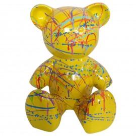 Statue Ours multicolore en résine fond jaune - 35 cm