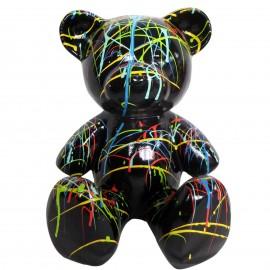 Statue Ours multicolore en résine fond noir splash - 35 cm