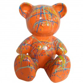 Statue Ours multicolore en résine fond orange - 35 cm