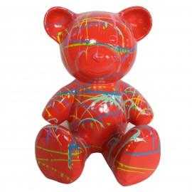 Statue Ours multicolore en résine fond rouge - 35 cm