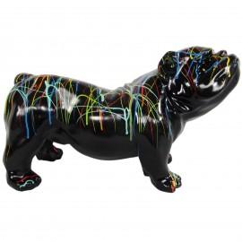 Statue en résine chien bouledogue anglais multicolore fond noir - 60 cm