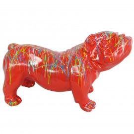 Statue en résine chien bouledogue anglais multicolore fond rouge - 60 cm