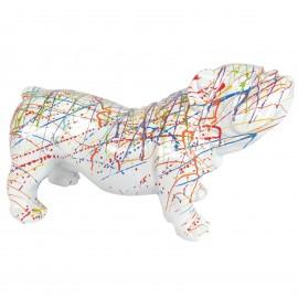 Statue en résine chien bouledogue anglais multicolore fond blanc - 60 cm