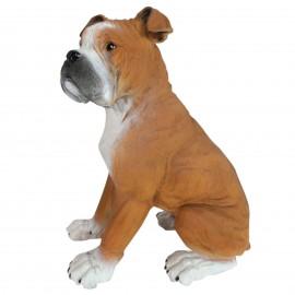 Statue en résine chien boxer assis 40 cm