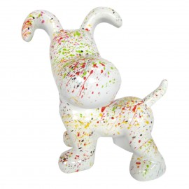 Statue en résine chien snoopy debout multicolore fond blanc - 27 cm