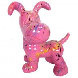 Statue en résine chien snoopy debout multicolore fond fuchsia - 27 cm