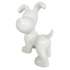 Statue en résine chien snoopy debout blanc - 27 cm