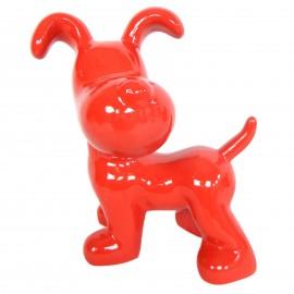Statue en résine chien snoopy debout rouge - 27 cm