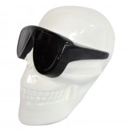 Statue en résine tête de mort blanche lunette noire 30 cm