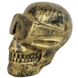 Statue en résine tête de mort doré antique 30 cm