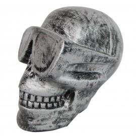Statue en résine tête de mort couleur acier 30 cm