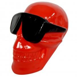 Statue en résine tête de mort rouge lunette noire 30 cm