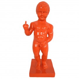 Statue en résine orange le célèbre Manneken-Pis doigt d'honneur 35 cm