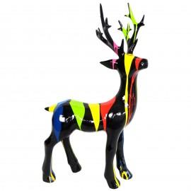 Statue cerf multicolore fond noir en résine - 76 cm