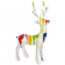 Statue cerf multicolore fond blanc en résine - 76 cm