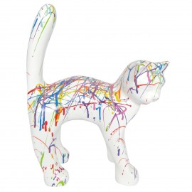 Statue chat en résine queue droite multicolore fond blanc 35 cm