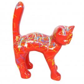 Statue chat en résine queue droite multicolore fond orange 35 cm