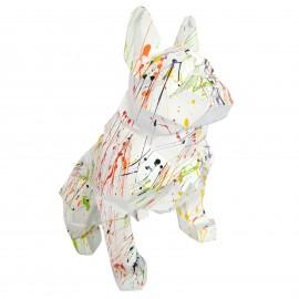 Statue bouledogue français origami en résine multicolore fond blanc 30 cm