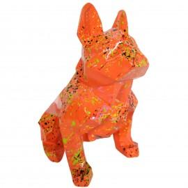 Statue bouledogue français origami en résine multicolore fond orange 30 cm