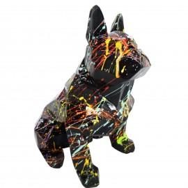 Statue bouledogue français origami en résine multicolore fond noir 30 cm