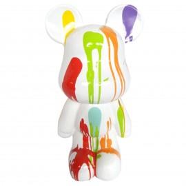 Statue ours design en résine multicolore fond blanc 30 cm