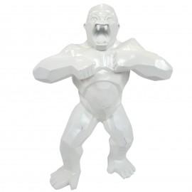 Statue en résine origami gorille singe méchant blanc debout 80 cm