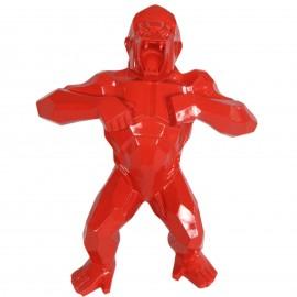 Statue en résine origami gorille singe méchant rouge debout 80 cm