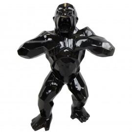 Statue en résine origami gorille singe méchant noir debout 80 cm