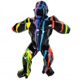 Statue origami en résine gorille singe méchant multicolore fond noir 80 cm