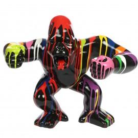 Statue en résine gorille singe agressif multicolore fond noir 36 cm