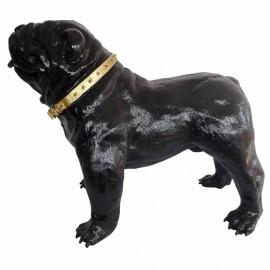 Statue en résine CHIEN bouledogue anglais noir avec collier doré- 90 cm
