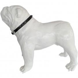 Statue en résine CHIEN bouledogue anglais blanc avec collier - 90 cm