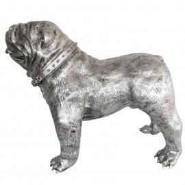 Statue en résine CHIEN bouledogue anglais gris métal avec collier - 90 cm