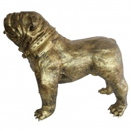 Statue en résine CHIEN bouledogue anglais doré antique - 90 cm