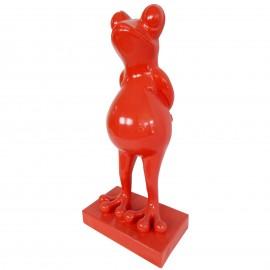 Statue en résine grenouille rouge - 65 cm